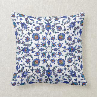 Ancient Handmade Turkish Floral Tiles Pattern Pillow