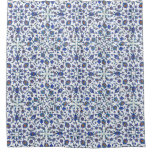 Ancient Handmade Turkish Floral Tiles Pattern Shower Curtain
