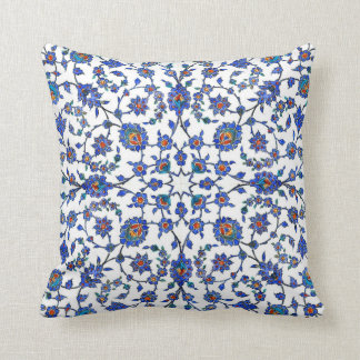 Ancient Handmade Turkish Floral Tiles Pattern Throw Pillow
