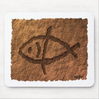 Ancient Hawaiian Fish Petroglyph Mouse Pad