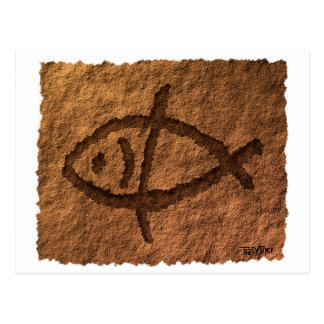 Ancient Hawaiian Fish Petroglyph Postcard