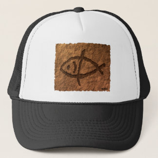 Ancient Hawaiian Fish Petroglyph Trucker Hat