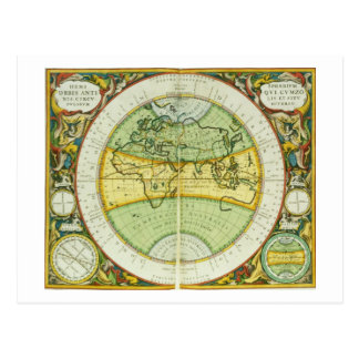 Ancient Hemispheres of the World, plate 94 from 'T Postcard
