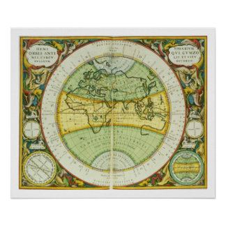 Ancient Hemispheres of the World, plate 94 from 'T Poster