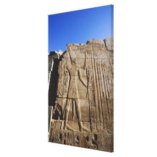 Ancient hieroglyphs on wall, Temple of Karnak, Canvas Print