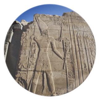 Ancient hieroglyphs on wall, Temple of Karnak, Plate