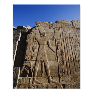 Ancient hieroglyphs on wall, Temple of Karnak, Poster