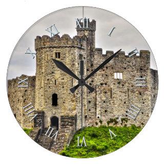 Ancient Historic Sites, Castle Ruins of Britain Large Clock