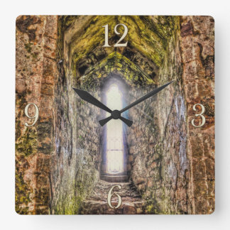 Ancient Historic Sites, Castle Ruins of Britain Square Wall Clock