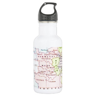 Ancient Historical Map Europe Normandy Aquitaine Stainless Steel Water Bottle