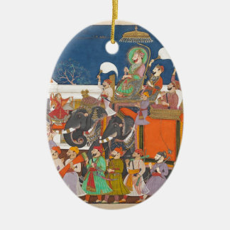 ANCIENT INDIA ROYAL ELEPHANT PROCESSION CERAMIC ORNAMENT
