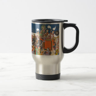 ANCIENT INDIA ROYAL ELEPHANT PROCESSION 15 OZ STAINLESS STEEL TRAVEL MUG