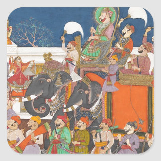 ANCIENT INDIA ROYAL ELEPHANT PROCESSION SQUARE STICKER