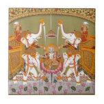 ANCIENT INDIAN PAINTING LORD VISHNU HINDU DEITY TILE