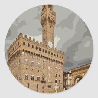 Ancient Italian Churches and Buildings Classic Round Sticker