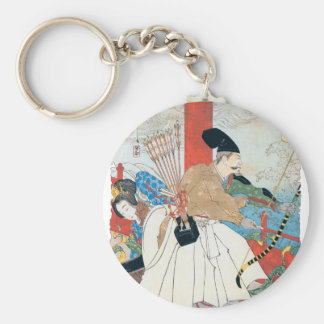 Ancient Japanese Archer Painting Basic Round Button Keychain