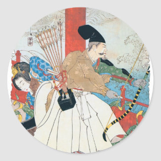 Ancient Japanese Archer Painting Classic Round Sticker