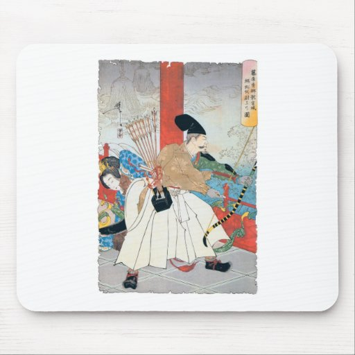 Ancient Japanese Archer Painting Mouse Pad