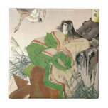 Ancient Japanese Art, Woman and Geese Ceramic Tiles