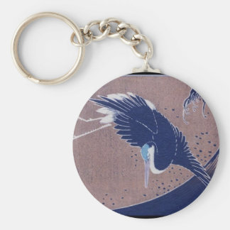 Ancient Japanese Bird Painting, c. 1830's Basic Round Button Keychain