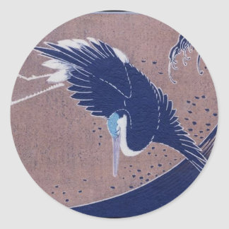 Ancient Japanese Bird Painting, c. 1830's Classic Round Sticker