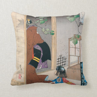 Ancient Japanese Demon Art Throw Pillow