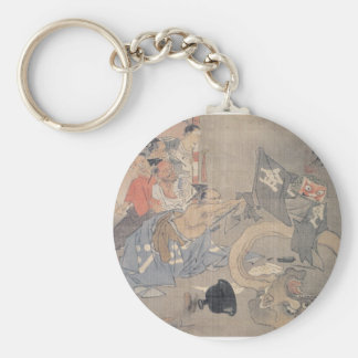 """Ancient """"Japanese Demon"""" Painting Basic Round Button Keychain"""