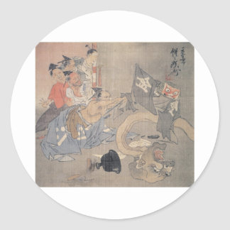 "Ancient ""Japanese Demon"" Painting Classic Round Sticker"