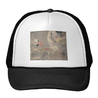 """Ancient """"Japanese Demons"""" Painting Hats"""