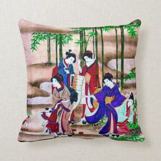 Ancient Japanese Depiction Art Throw Pillow