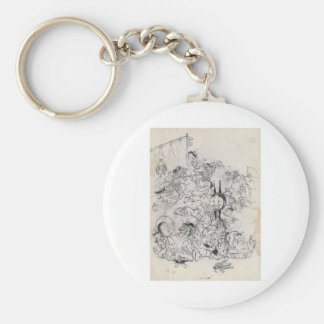 Ancient Japanese Drawing Basic Round Button Keychain