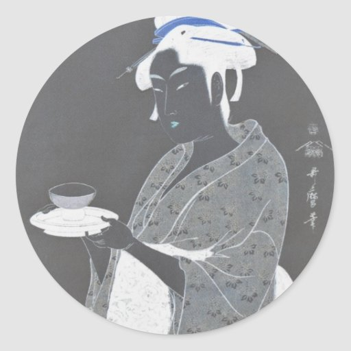 Ancient Japanese Painting circa 1793 Classic Round Sticker