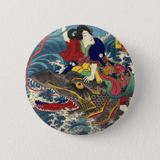 Ancient Japanese Painting, Japanese Woman Riding.. Pinback Button