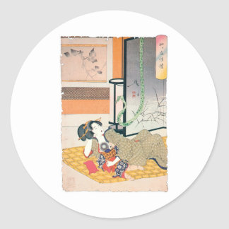 Ancient Japanese Painting, Mother and Baby Classic Round Sticker