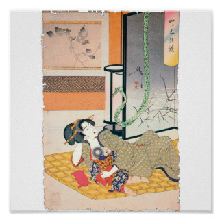 Ancient Japanese Painting, Mother and Baby Poster