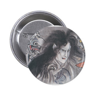 Ancient Japanese Painting of Demons and Ghosts Button