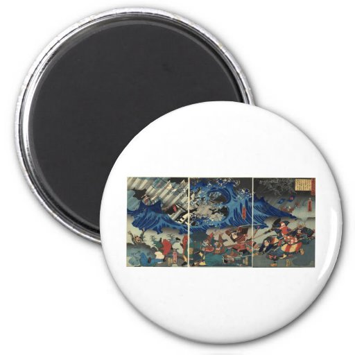 Ancient Japanese Painting of Samurai and Mongols 2 Inch Round Magnet