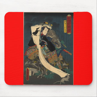 Ancient Japanese Painting, Samurai with Toad Mouse Pad
