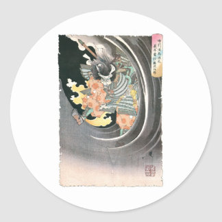 Ancient Japanese Samurai Painting Classic Round Sticker