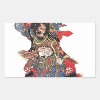 ANCIENT JAPANESE SAMURAI WARRIOR RECTANGULAR STICKER
