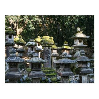 Ancient Japanese Stone Lanterns Covered with Moss Postcard