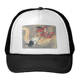 Ancient Japanese Tengu Demon Painting Hats