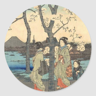 Ancient Japanese Women under Cherry Blossoms Classic Round Sticker