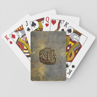Ancient Jewish Coin Grungy Playing Cards