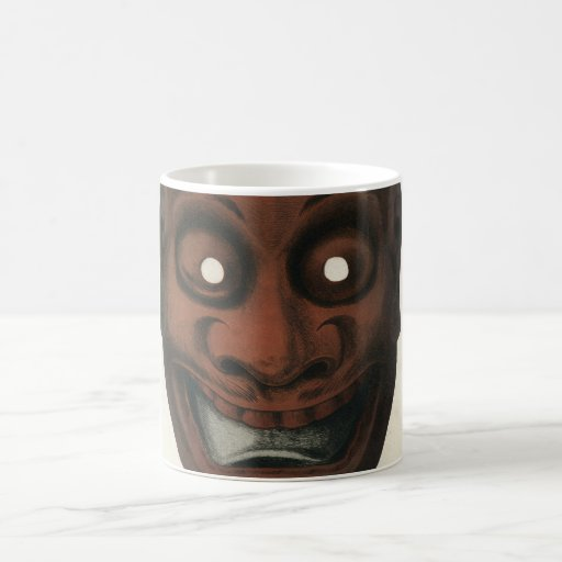Ancient lacquered wooden theatre mask basic white mug