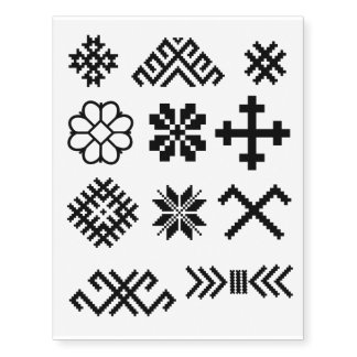 Ancient Latvian symbols Jumis Star Cross Star Temporary Tattoos