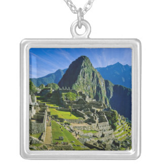 Ancient Machu Picchu, last refuge of the 2 Square Pendant Necklace