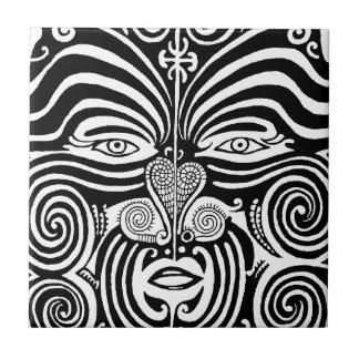 Ancient Maori Moko tribal tattoo design. Ceramic Tile