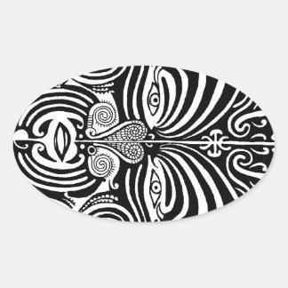 Ancient Maori Moko tribal tattoo design. Oval Sticker