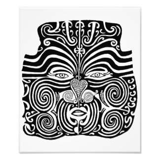 Ancient Maori Moko tribal tattoo design. Photo Print